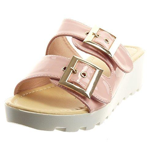 Sopily - Scarpe da Moda sandali Aperto alla caviglia donna lucide fibbia metallico Tacco zeppa piattaforma 4.5 CM - Rosa