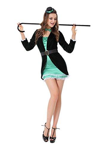 JJ-GOGO Circus Costume Women - Adult Halloween Green Sexy Night Master Trainer Burlesque Clown -