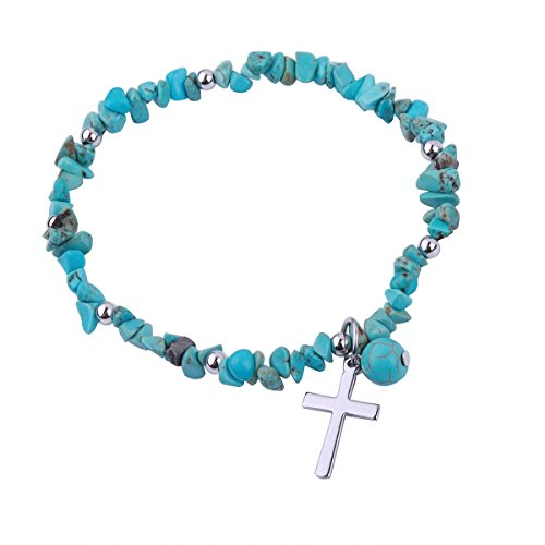 REEBOOOR Starfish Ankle Bracelet Amethyst Healing Stone Stretch Anklet Bracelet Chakra Beach Foot Jewelry for Women Girl (Turquoise with Cross)