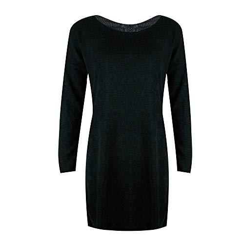 Color Punto Con Junmy Larga Prendas Vestido Jersey Negro Manga Sólido Mujer Y Cuello De Camisa Pullovers Redondo En Suéter Cwq4vw
