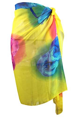 (Block Garden Women's Chiffon Swimsuit Cover up Sarong Pareo Printed Beach Wrap (S11 Yellow))