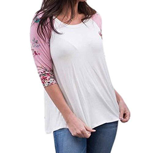Shirt Donna Taglie Forti Estivi Manica 3/4 Rotondo Collo Stampate Camicetta Eleganti Moda Chic Felpe Tempo Libero Baggy Bluse Magliette Ragazza Pink