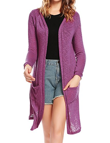 ELESOL Long Cardigans for Women, Casual Open Front Sweaters for Women and Long Sleeve Knitted Cardigan Sweater, Purple, Large