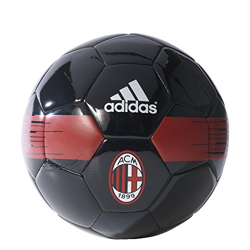 (Italian Serie A AC Milan Soccer Ball, Size 5, Black/Victory Red)