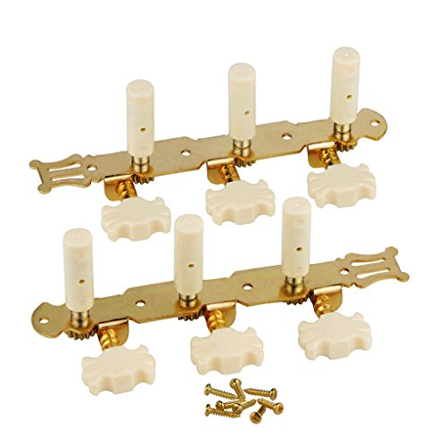FLEOR 3 on A Plate 2 Row Guitar Tuning keys Acoustic Folk Guitar Machine Heads Tuners Set,Golden Color by FLEOR (Image #3)