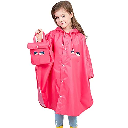 Fan Hua Kids Raincoat Yellow Lightweight Waterproof Rain Jacket Coat with Hooded for Girls Boys,Portable Poncho Rainwear(Kid Raincoat01-Red-L)