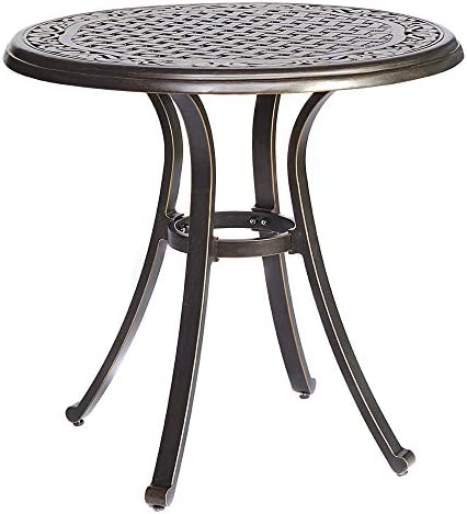 dali Bistro Table, Square Cast Aluminum Round Outdoor Patio Dining Table 28 Dia x 28.6 Height