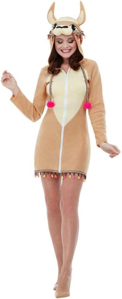 shoperama Lama - Disfraz de mujer con capucha de animal, camel Anden de América del Sur y alpaca, talla S