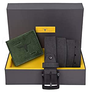 Urban Forest Carter Green Leather Wallet & Grey Leather Belt Combo Gift Set for Men
