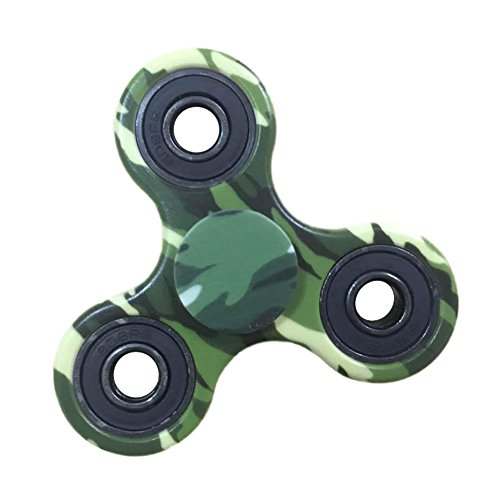 DSstyle Fidget Spinner Bat Shape Tri Spinning Finger Toys for Autism and ADHD Relief Focus Anxiety Stress Army green