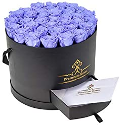 Real Roses That Last 365 Days| Premium Roses Collections| Valentine's Day| Anniversary| Roses in Box| Roses with Longevity| Wedding Arrangement| Luxury Flowers| Flowers in Box (Large, Black Box)