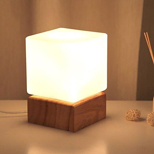 Wood Base Table Lamp - Agnes Lighting Table Lamp, Wooden base, Glass cover, 1 Light, L4.73