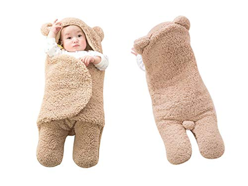 Baby Swaddle Wrap Soft Fleece with Cotton Lining Sleeping Bag Brown Bear for 0-6 Months Baby Boys Large