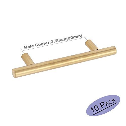 Brushed Brass Cabinet Knobs 3.5 Inch Drawer Pulls Furniture Hardware - Goldenwarm LS201GD90 Circular Gold T Bar Cupboards Door Handle Stainless Steel Bathroom Cabinet Pulls 10 Pack