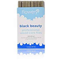 Flowery 7-Inch Wood Core Professional File Black Beauty 40-Count