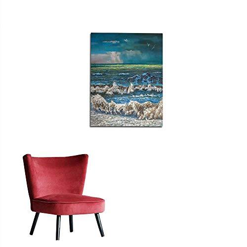 longbuyer Art Stickers Artwork Storm on The sea