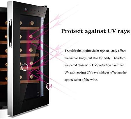 HUATINGRHHO Silencioso Vinoteca Nevera para Vinos, Enfriador con 5 estantes, Espacio para 15 Botellas de Vino Panel de Control Táctil Iluminación LED Enfriador Silencioso Puerta Cristal