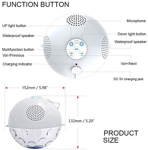 Bluetooth Portable Speaker with RGBW Lights,IPX7 Waterproof Speakers with Dual Drivers,Rich Bass,50ft Bluetooth Range,Built-in Mic,Portable Wireless Speaker for Home Outdoor Pool Hot Tub Shower Travel 41x1yVr9dXL