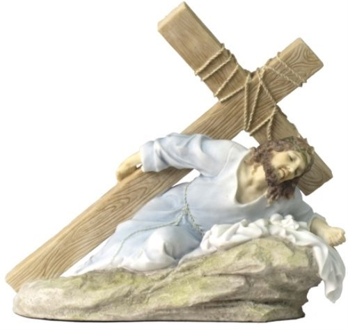 10 Inch Jesus on The Ground Carrying The Crucifix - Light Color
