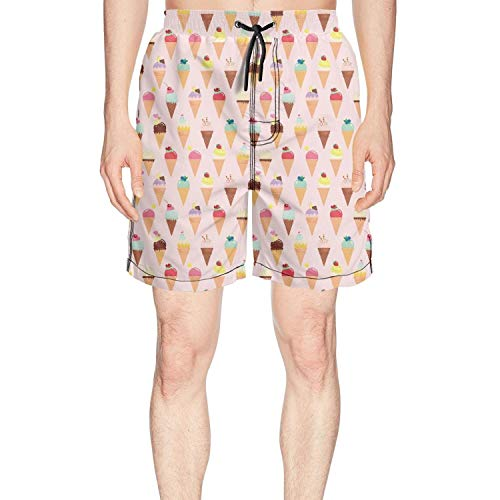 Men's Ice Cream Summer Pink Summer Quick Dry Volley Beach Shorts Fashion Swim Trunks by Rus Ababy