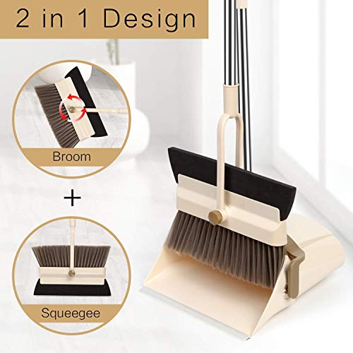 Household Broom And Dustpan Set Combo Artifact Standing Upright Standing Dustpan With Brush Large Butler Long Handled Pivoting Slippers Tubs Of Hair Combo Set Upright Eco Metal For Office Pets