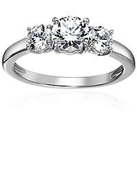 Platinum-Plated Sterling Silver Round-Cut Swarovski Zirconia 3-Stone Anniversary Ring