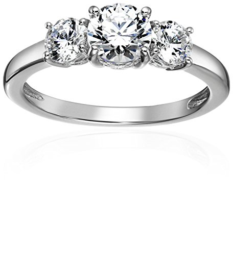Platinum-Plated Sterling Silver Round-Cut Swarovski Zirconia Three-Stone Anniversary Ring