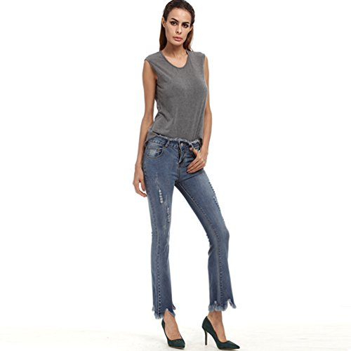 Charme Signore Denim Blu Dtirata cut Estate Dtrappati Outdoor Di Jeans Colore Dell'annata Elegante Dolido Boot Pantaloni Dexinx c4dqI4