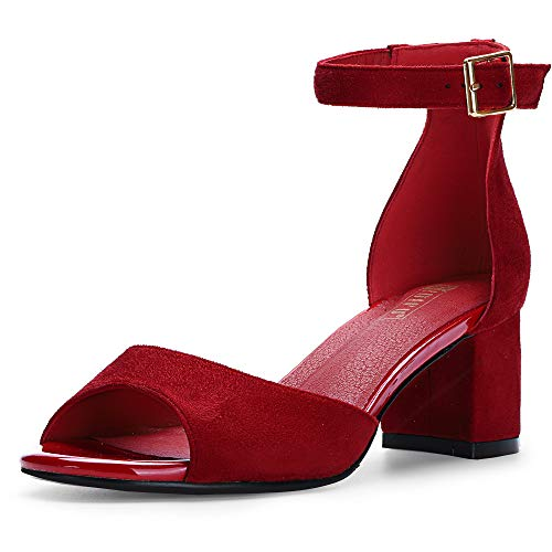 IDIFU Women's IN2 Candie Low Chunky Block Heel Pump Heeled Sandals Buckle Ankle Strap Peep Toe Dress Shoes (6 M US, Red Suede)