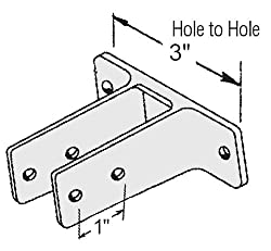 "Chrome Plated Two Ear Urinal Screen Bracket for 1-1/4"" Restroom Partition Panels - 3"" Between Mounting Hole Centers"