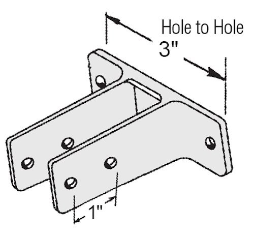 Chrome Plated Two Ear Urinal Screen Bracket for 1-1/4'' Restroom Partition Panels - 3'' Between Mounting Hole Centers