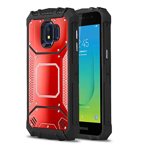 Plate Cover Metro - Phone Case for [Samsung Galaxy J2 (Metro PCS) 2018], [Alloy Series][Red] Aluminium [Metal Plate][Military Grade] Shockproof [Impact Resistant] Cover for Samsung Galaxy J2 (Metro PCS) J260