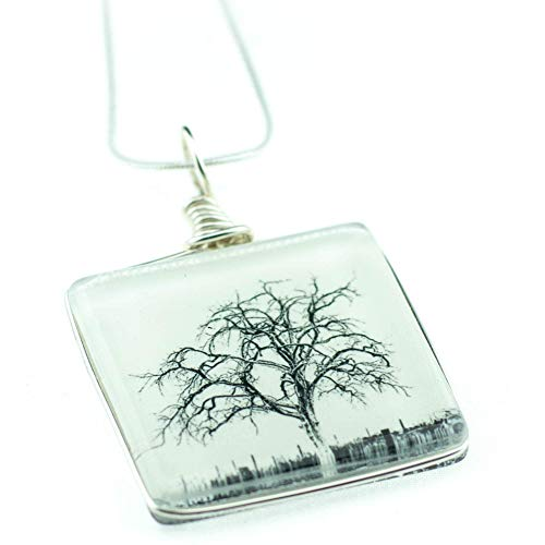 Tree Necklace, Handmade Glass Pendant on 18