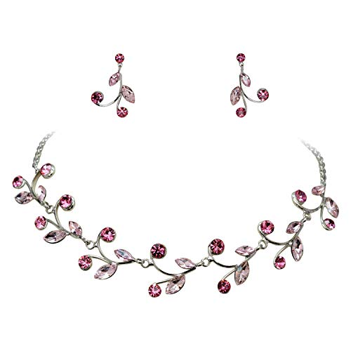 - Faship Gorgeous Pink Rhinestone Crystal Floral Necklace Earrings Set - Pink