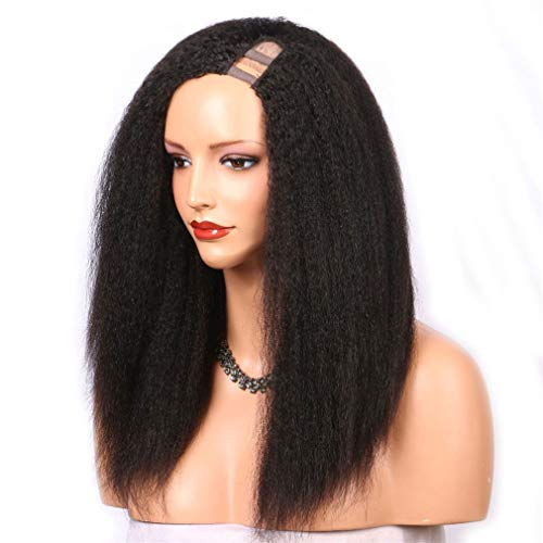 Straight U Part Wig Human Hair Wigs Brazilian Remy Hair 150 Density Medium Cap Left Part Natural Color 14inches 150%