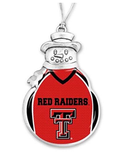 FTH 60630 Texas TECH RED Raiders Football Jersey Snowman Christmas Ornament