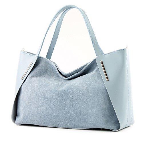 modamoda de - Made in Italy - Bolso al hombro para mujer ver descripción azul claro