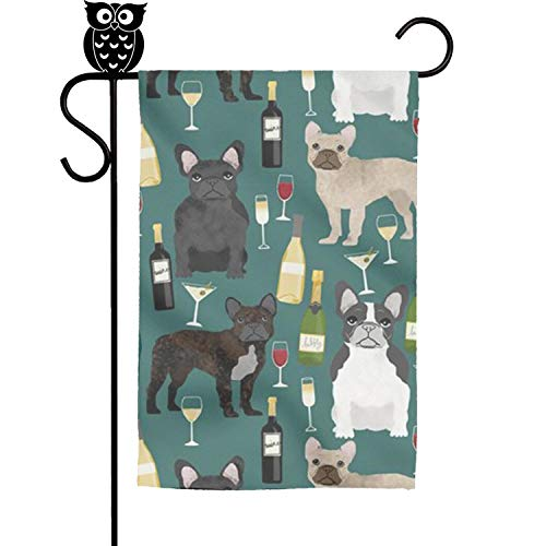 FLYYYY French Bulldogs Wine Champagne Garden Flag-Single Sided Polyester Yard Flag Weather Resistant Personalized Flags (French Garden Champagne)