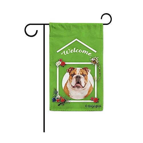 BAGEYOU Welcome to My Home My Love Dog Bulldog Decorative Garden Flag Srping Summer Flowers Home Decor Banner for Outdoor Housewarming Gifts 12.5X18 Inch Printed Double Sided ()