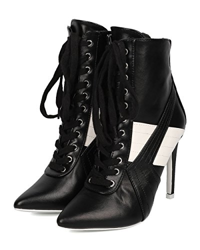 Black Women Boot Pointy CAPE Sports Bootie Bootie by HK57 Leatherette Lace Stripe Up Ankle ROBBIN Stiletto Toe 51wxq1Z7