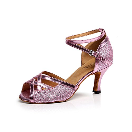 Modern BYLE Dance Sandals Exercise Pink Jazz Leather Chip Show Shoe Shoes Onecolor Shoes Ankle Shoes Latin Strap Flash Samba Dance Dance rrXBx