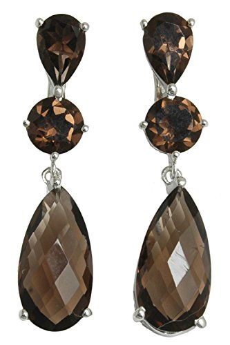 Banithani 925 Pure Silver Smoky Topaz Stone Dangle Earrings Charm Women Fashion Jewelry