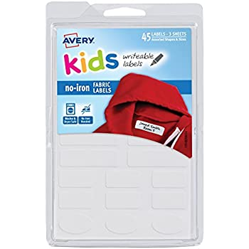Avery No-Iron Kids Clothing Labels, Washer & Dryer Safe, Writable Fabric Labels, 45 Assorted Shapes & Sizes (40700)
