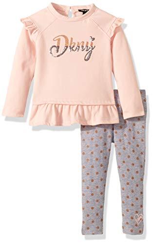 DKNY Girls 2 Piece Ruffle T-Shirt Legging Set,