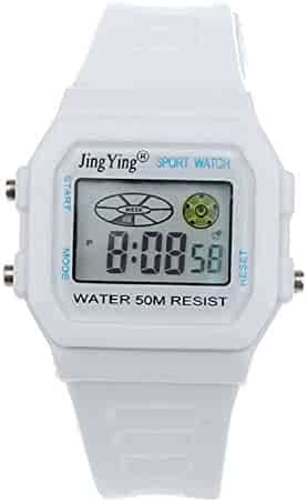 Sannysis Fashion Boy Girl Electronic LCD Digital Round Rubber Sport Wrist Watch White