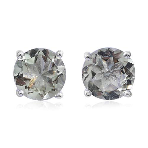 925 Sterling Silver Round Green Amethyst Stud Solitaire Earrings Cttw - Solitaire Green Amethyst