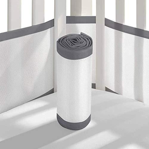 Tonquu Baby Crib Bumper Pads for Standard Cribs Machine, Lightweight Washable Safe Hypoallergenic, Baby Mesh Crib Liner (Gray)...