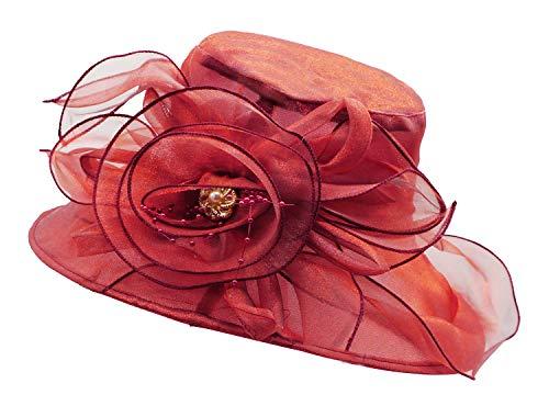 (Bellady Women's Organza Church Kentucky Hat Derby Fascinator Bridal Tea Party Wedding Cap,WineRed Derby Hats,One Size)