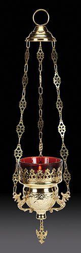 Hanging Sanctuary Lamp (Hanging Votive Holder with Ruby Glass Brass)