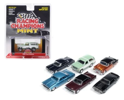 1965 Ford Bronco - New 1:64 AUTO WORLD RACING CHAMPIONS MINT RELEASE 2 VERSION D SET Diecast Model Car By Auto World Set of 6 Cars